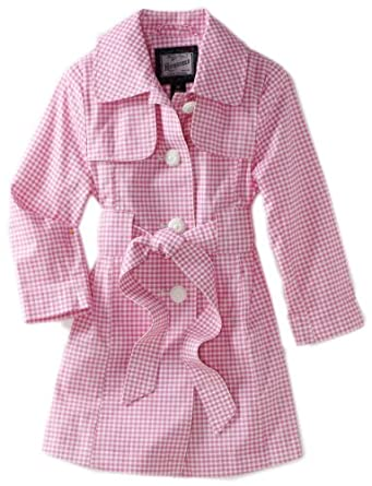 Rothschild Girls 2-6X Toddler Gingham Check Trench Coat, Pink, 2T