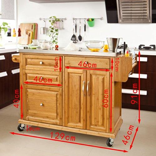 Sobuy fkw14 n xxl plan de travail de luxe desserte sur - Meuble de rangement cuisine a roulettes ...