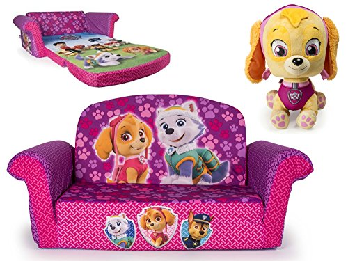 [Paw Patrol Marshmallow 2-in-1 Flip Open Sofa and Paw Patrol Skye JUMBO Plush Toy] (Kids Toothless Night Fury Costumes)