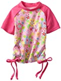 i play. Baby-girls Infant Short Sleeve Tie Rashguard Shirt, Light Pink Flower Field, 6 Months image