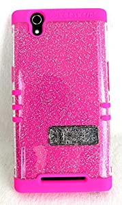 ZTE ZMAX Z970 Cover Case Transparent Glitter with Pink Shock Resistant Hybrid by Phone Art