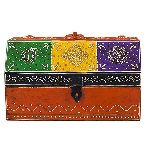 Rusticity Wooden Decorative Box / Jewelry Organizer - Emboss Painted - Treasure Chest | Handmade | (10x6.5x5.5 in)