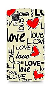 Amez designer printed 3d premium high quality back case cover for LG Nexus 5 (Love art texture colorful heart)