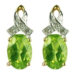 Boucles d'oreille - 9 - ER9430PER - Femme - Or jaune (9 cts) 1.22 Gr - Peridot - Diamant