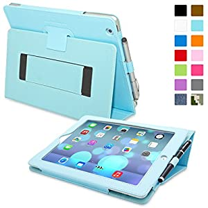 Snugg iPad 2 Case - Smart Cover with Flip Stand & Lifetime Guarantee (Baby Blue Leather) for Apple iPad 2