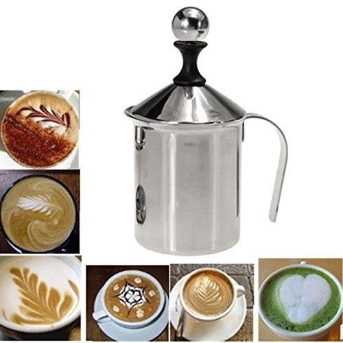 Aliciashouse Inox pompe mousseur Creamer mousse Cappuccino 400ML café maille Double mousse de lait