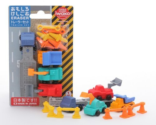 Iwako Trailer Construction Machine Trucks Japanese Erasers Blister Set NEW! - 1