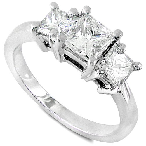 Three Stone Princess Cut Diamond Ring 1 1/2ctw