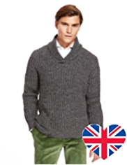 Best of British Pure Wool Shawl Collar Jumper