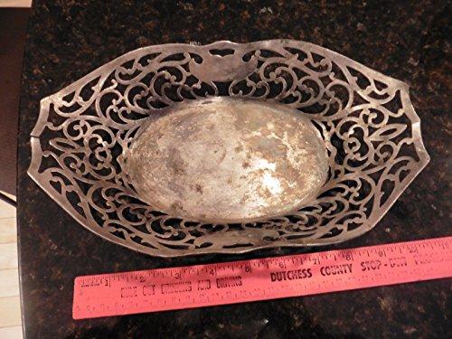 Antique Apollo Silver Co Filigree Bread Basket Centerpiece Bowl Quadruple Plate (Filigree Basket compare prices)