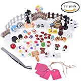 Antner 72pcs Miniature Ornament Kit for DIY Fairy Garden Dollhouse Decor with Storage Box