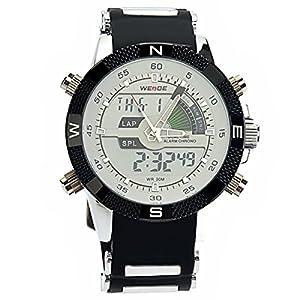 PIXNOR Hora Dual WEIDE WH-1104 impermeable de los hombres deportivos LED Digital reloj de pulsera de cuarzo con fecha cronómetro alarma correa de caucho (blanco) de PIXNOR
