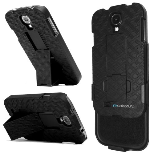 Maxboost Shell Holster Combo Protective Case for Samsung Galaxy S4 SIV with Kick-Stand Belt Clip Holster – Fits Any Version for Galaxy S4 S 4 SIV S IV includes Models for AT&T, Verizon, Sprint, T-Mobile, International Unlocked