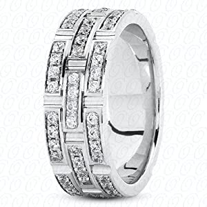 1.08 Ct. Custom Made Diamond Wedding Band F VS1 Pd NWB043013.571
