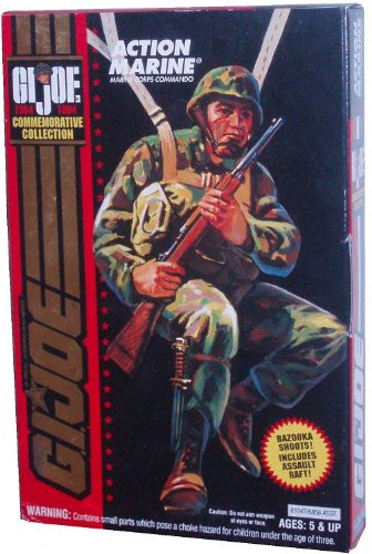 GI Joe Year 1993 Commemorative Collection 4 Inch Tall Soldier Action Figure - U.S. Marine Corps Commando Action Marine with Assult Raft, Bazooka tht Shoots, Rifle, Backpack, and Raft Paddle
