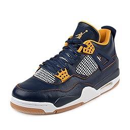 Nike Jordan Men\'s Air Jordan 4 Retro Mid Navy/Mtllc Gld/Gld/Lf White Basketball Shoe 14 Men US