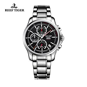 Reef Tiger Mens Sport Chronograph Watch Date Steel Red Hands Quartz Watches RGA1663