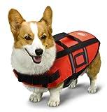AKC Pet Life Jacket with Reflective Stripes, Lift Handle & Storage Bag, Small, Orange