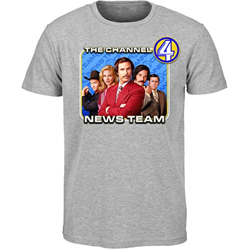 Anchorman Channel 4 notizie Team T Shirt (S-2 X L) ron Burgundy Movie DVD Grey Large