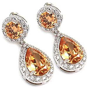 White Gold GP CZ Citrine Color CZ Swarovski Crystal Women Girl Dangle Tear Drop Earring