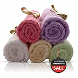 "Bamboo Baby Washcloths by AngelicWare. Luxury Organic Towels / Wipes - Perfect Gift. Super Soft, Thick and Gentle on Sensitive Skin - 10""x10"""