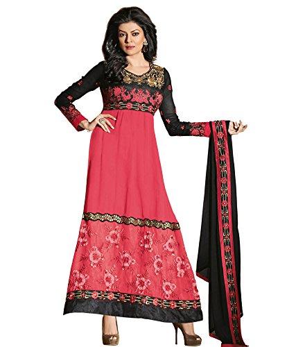 Craze N Demand Women Faux Georgette Black Anarkali Semi Stitched Dress Material
