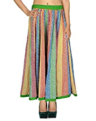 Gypsy Sarong Casual Skirt Cotton Multicolor Striped Patchwork For Her By Rajrang