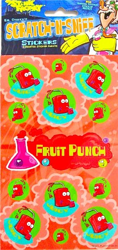 Dr Stinky's FRUIT PUNCH Scratch-and-Sniff Stickers, 2 sheets 4 x 6 3/4, 26 stickers