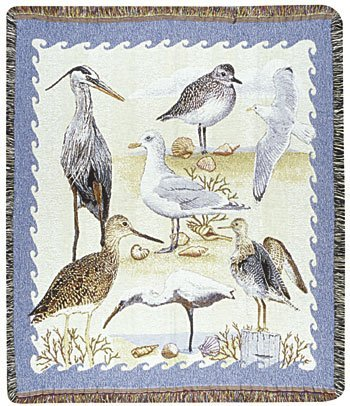 Shore Birds Tapestry Toss Blanket Throw Usa Made front-871198