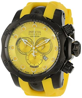Invicta Men's 11959 Venom Reserve Chronograph Yellow Dial Yellow Polyurethane Watch