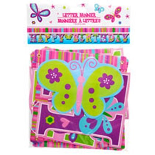 Happy Birthday Butterfly Letter Banners, 7 ft.