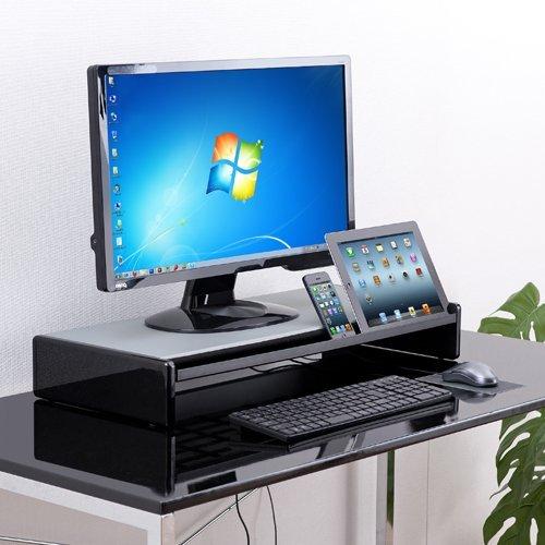 サンワダイレクト 液晶モニター台 キーボード収納 iPadタブレットPC用スタンド付 W65cm 机上ラック 100-MR066