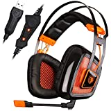 SADES A8 7.1 Surround Sound Over Ear PC USB Gaming Headset With Microphone Vibration Noise Canceling LED Light...