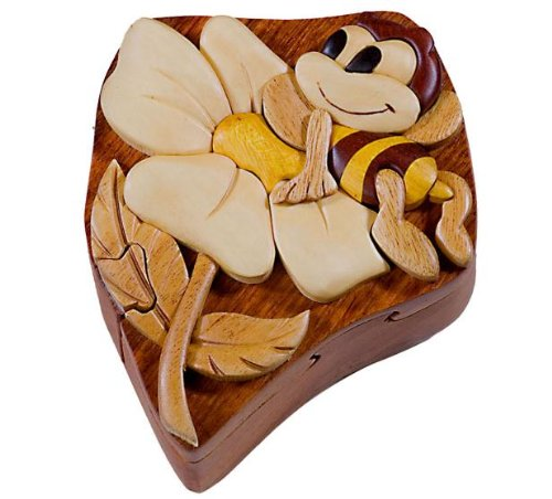 Cheap Fun Bee On Flower – Secret Wooden Puzzle Box (B002P8P8BG)