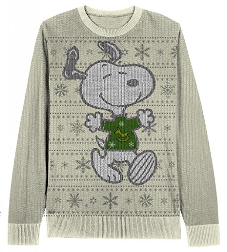 Snoopy Snowflake Pattern Adult Cream Ugly Christmas Sweater (Adult Small)