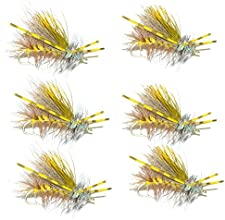 Yellow Crystal Stimulator Rubber Legs Trout Dry Fly 6 Flies Size 12