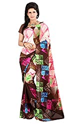 Pruthu Printed Premium Georgette Saree with Unstitched Blouse (plava_004)