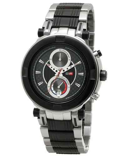 DFactory Men's DFU016SBI Black Label Black Dial Steel and IPB Chronograph Watch
