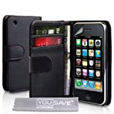 Yousave Accessories PU Leather Wallet Cover Case with Screen Protector Film, Grey Micro Fibre Polishing Cloth for Apple iPhone 3/3G/3GS - Blackby Yousave Accessories