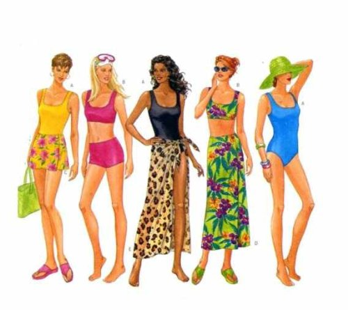 Butterick Swimsuit & Cover Up Sewing Patten #5551 Sizes: 12, 14 & 16