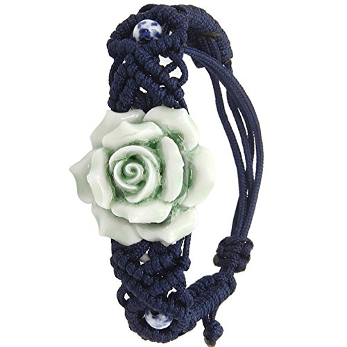 S.S®(Sportspirit) Green Chinese Rose With Beads Braided Nylon Bracelet For Who You Love