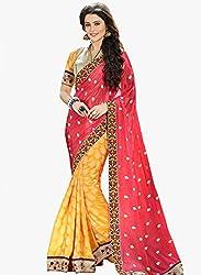 Shreenath Creation Women's Georgette Saree(Yellow)
