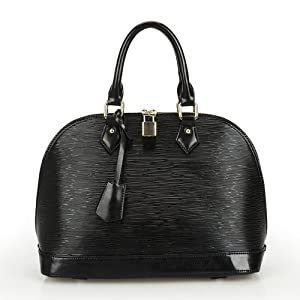 Pinshang Wood Grain Embossed Shoulder Tote Bag Office Lady Favor Shell Handbag(black)