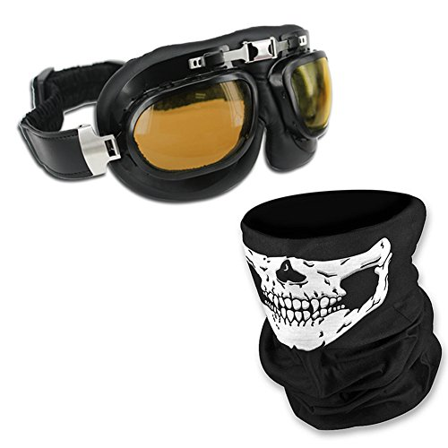 HAMIST Vintage Motorcycle Goggles Smoke & Skull Face Mask Black,Set For Cycling Multi-Purpose Seamless Tube Masks With Windproof Aviator Glasses 0