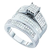 buy 1.97 Carat (Ctw) 14K White Gold Princess White Diamond Men & Women'S Invisible Bridal Ring Trio Set 2 Ct