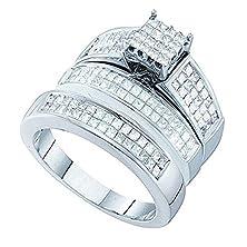 buy 1.97 Carat (Ctw) 14K White Gold Princess White Diamond Men & Women'S Invisible Bridal Ring Trio Set 2 Ct
