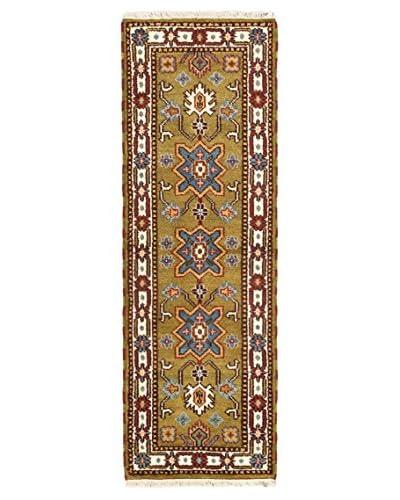 Hand-Knotted Royal Kazak Wool Rug, Light Green, 2' 2 x 6' 7 Runner