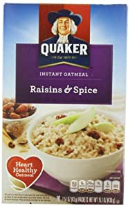 Quaker Instant Oatmeal Raisin & Spice, 10-Count 1.51oz  Packets (Pack of 4)