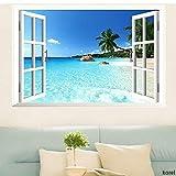 KOREL® Large Removable Beach Sea 3D Window Decal WALL STICKER Home Decor Exotic Beach View Art Wallpaper Mural