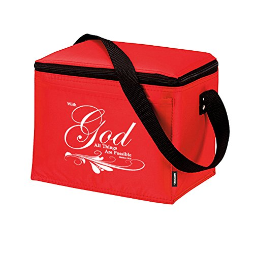Matthew 19:26 With God All Things Are Possible Insulated Lunch Bag - Christian Cross & Dove Bible Verse Church Office School Travel Cooler Tote - Red White - 1